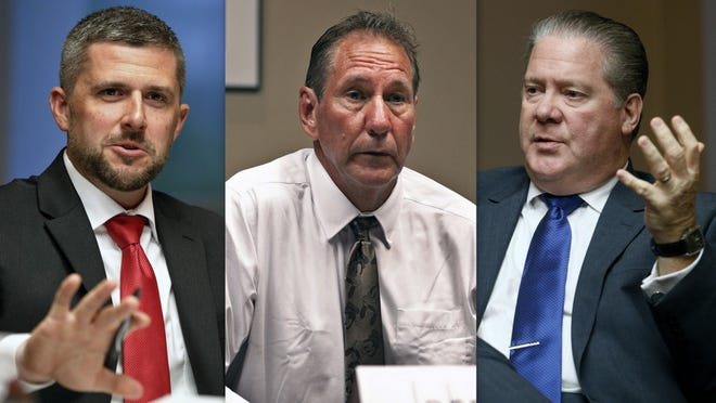 Danny Robins, left, John D'Hondt, center, and Gary Conroy, right, are vying for the District 3 Volusia County Council seat. The primary election is set for August 18.