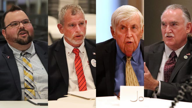 From left, Michael Schottey, Alan Lowe , John Brady, and Donald Allen Green participated in the News-Journal's Palm Coast Mayoral debate Wednesday, Aug. 5, 2020.
