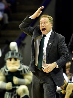 Michigan State Spartans head coach Tom Izzo reacts during the first half against the Virginia Cavaliers in the third round of the 2015 NCAA Tournament at Time Warner Cable Arena.