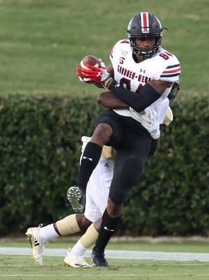 Gardner-Webb wideout Izaiah Gathings looks to turn upfield during his team's 2019 game at Wofford.