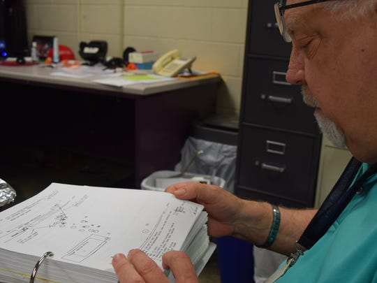 On Aug. 30, 2017, Knox County Sheriff's Office Cold Case Chief David Davenport pores over documents contained in the investigative file of the July 11, 1996 homicide of Blair Adams.