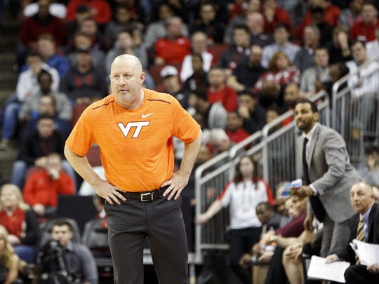 Virginia Tech's Buzz Williams coached the second half in a t-shirt. Feb. 18, 2017
