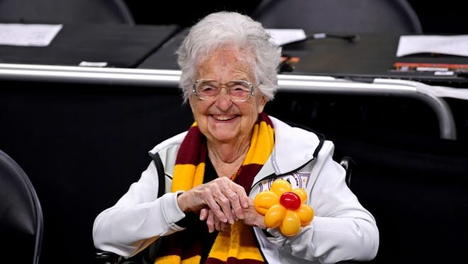 Loyola Ramblers team chaplain Sister Jean before the Final Four game against the Michigan Wolverines.