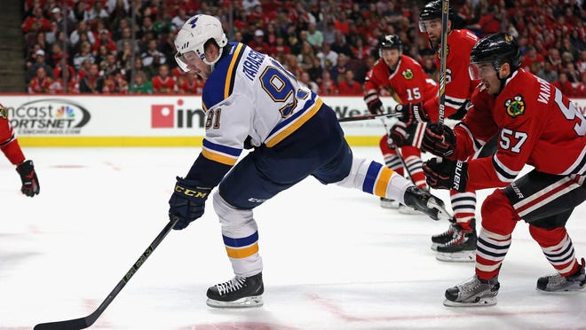 Vladimir Tarasenko (91) led the St. Louis Blues in the first round with 4 goals and 2 assists in six games against the Chicago Blackhawks.