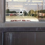 A picture of the bullet hole at Station 30 at 10225 St. Clair.