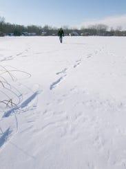Meteorite hunter Robert Ward walks to the beach of