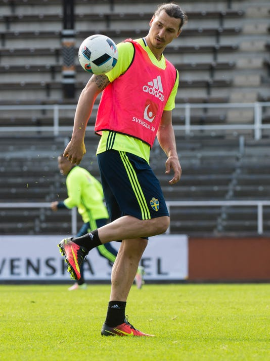 56c9e6c3f Zlatan Ibrahimovic during the Swedish national soccer team Euro 2016  training camp at the Stockholm Olympic