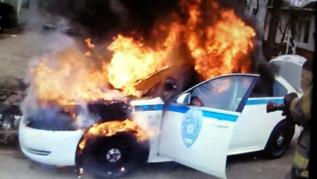 JPD police car catches fire