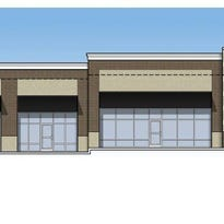 Rendering of the front view of Corner Marketplace retail, drawn by MJM Architects of Nashville.