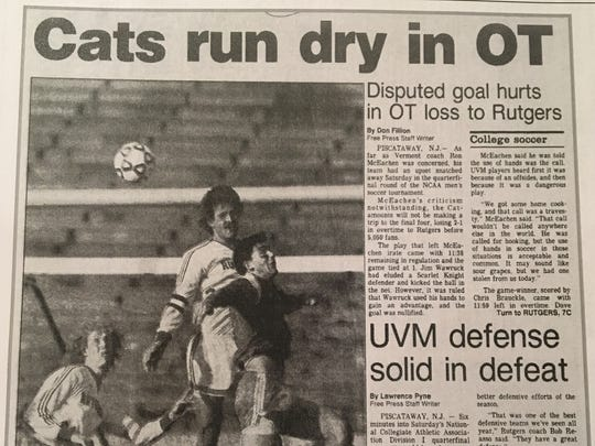 The sports cover of the Nov. 26, 1989 Burlington Free Press features stories from Vermont's 2-1 loss to Rutgers in the NCAA quarterfinals.