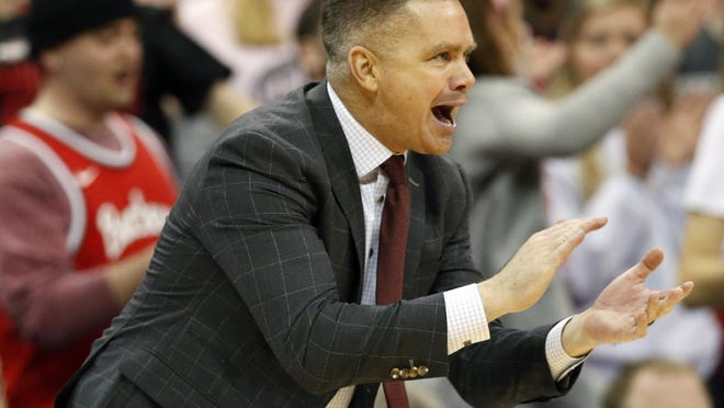 Ohio State Buckeyes head coach Chris Holtmann yells from the bench during the second half of the NCAA basketball game against the Illinois Fighting Illini at Value City Arena on Feb. 14, 2019. Ohio State lost 63-56.
