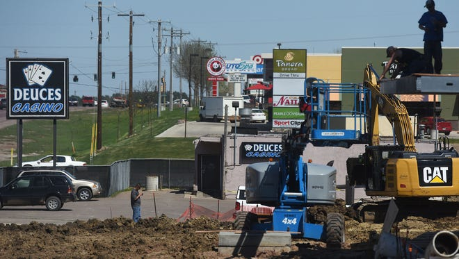 Construction continues off of E 12th Street next to Deuces Casino on Wed., May 4, 2016.