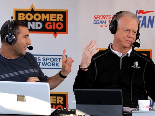 """Jerry Recco (left) and Boomer Esiason are shown during WFAN's """"Boomer and Gio Show"""" Kick Off to Summer live broadcast at the Headliner in Neptune."""