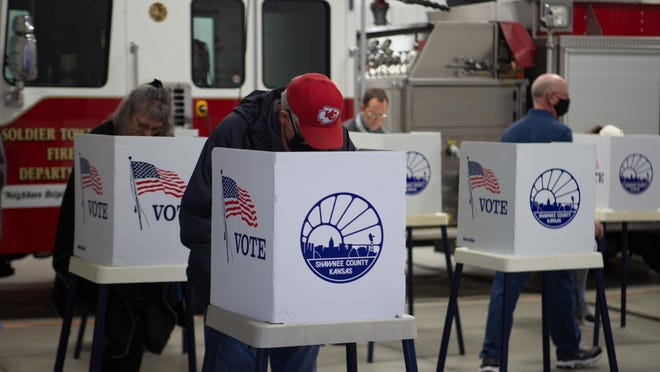 Voters cast their ballots Tuesday at a Soldier Township fire station at 8232 N.W. Topeka Blvd. As of Wednesday, ballots from 71.63% of Shawnee County's 116,415 registered voters had been counted, said Shawnee County election commissioner Andrew Howell.