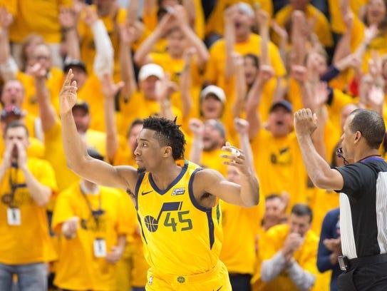 Utah Jazz guard Donovan Mitchell (45) reacts during