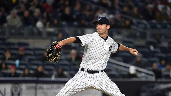 New York Yankees reliever Chasen Shreve pitches against the Boston Red Sox  in the seventh inning of a baseball game, Friday, May 6, 2016, in New York.