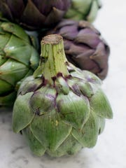 """This Sept. 15, 2014 photo shows preparing artichokes for fettuccine with sauteed artichoke hearts and pancetta in Concord, N.H. Often the autumn artichokes will have some brown spots, but that doesn't mean they're spoiled. In fact, these specimens are what the farmers call """"frost-kissed"""" and may be even more flavorful than their springtime cousins."""