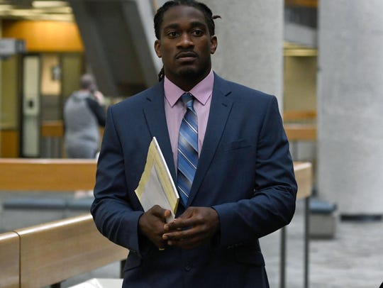 A.J. Johnson walking into court for his trial Monday,