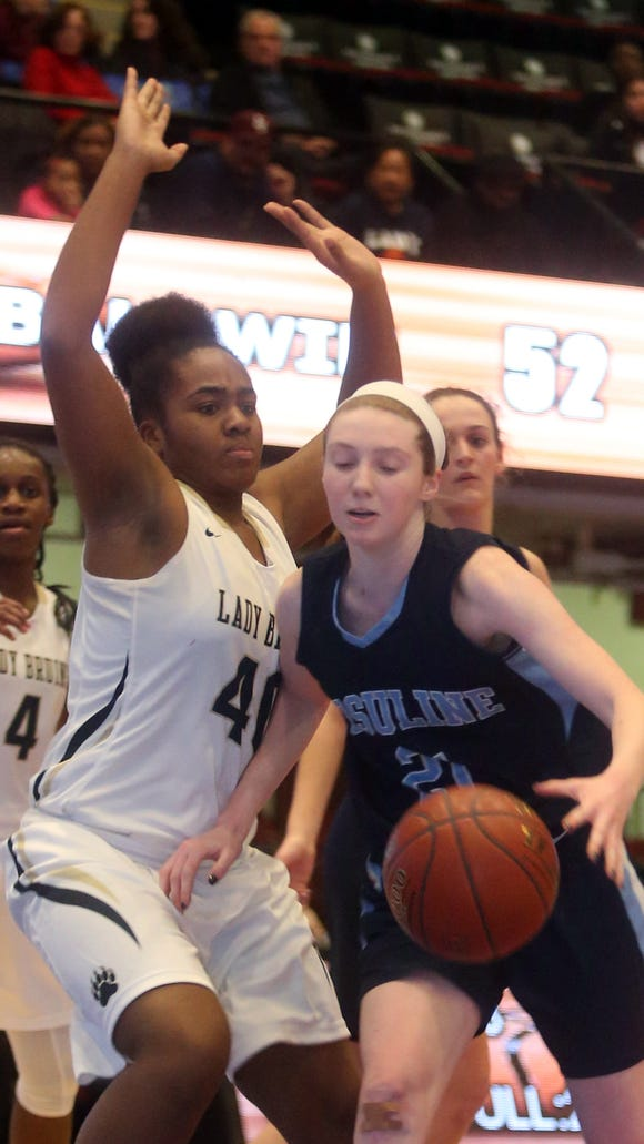 Baldwin High School defeated Ursuline 60-50 in the  championship game of the Slam Dunk Tournament at the Westchester County Center Dec. 29, 2016.