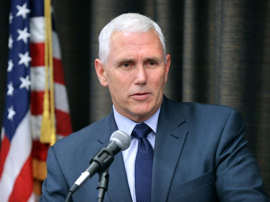 Indiana Governor Mike Pence speaks to the Federalist Society, a non-profit group of attorneys, law students and public officials at the J.W. Marriott in downtown Indianapolis on Friday, June 13, 2014.