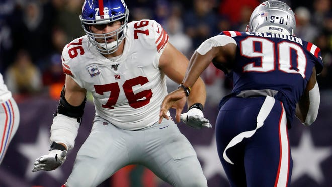 Giants offensive tackle Nate Solder looks to block against the Patriots last October.