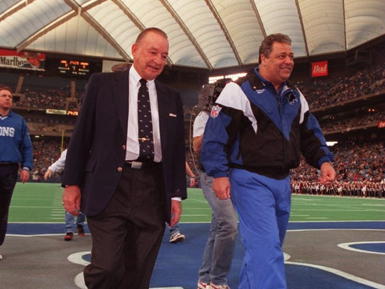 Former Lions owner William Clay Ford, left, and former