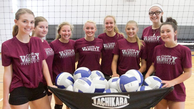 The Charyl Stockwell Preparatory Academy varsity volleyball team, from left, Naomi Popa, Kaitlynn Lighthall, Erica Vaske, Jessica Emrick, Jenna Vaske, Paige Gallentine, Lila Splavec and Theresa Kehn prepare at a practice Tuesday, Aug. 15, 2017 for the upcoming volleyball season.