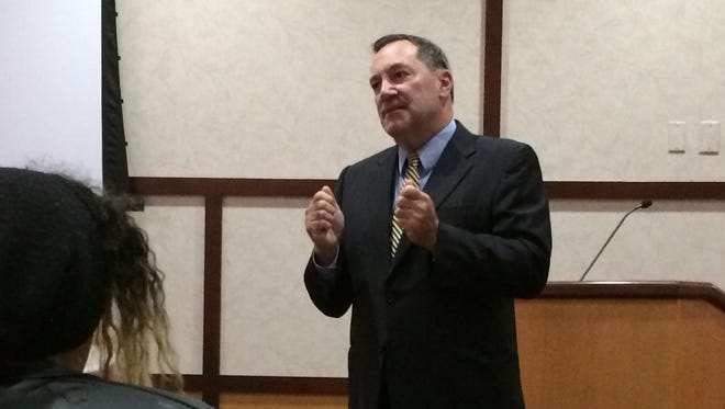 Sen. Joe Donnelly addresses the Heroin Is Here group at Reid Health.