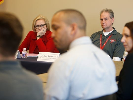Sen. Claire McCaskill listens to students, administrators and parents about how to make higher education more affordable and accessible during a round table at the OTC Richwood Valley Campus on Wednesday, March 23, 2016.