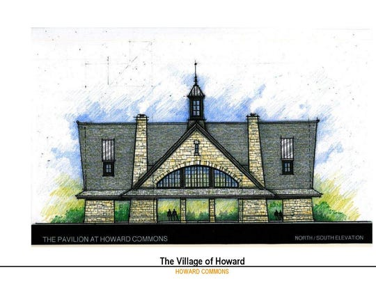 A conceptual drawing of the pavillion at Howard Commons.