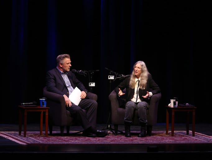 Alec Baldwin interviewing Patti Smith at the Mayo Performing
