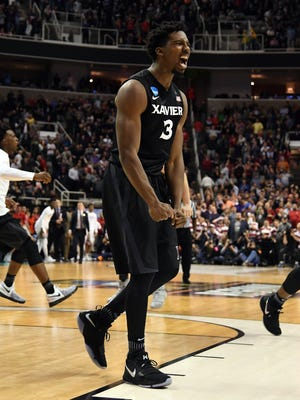Xavier Musketeers guard Quentin Goodin (3) and forward Tyrique Jones (0) celebrate after defeating the Arizona Wildcats during the semifinals of the West Regional of the 2017 NCAA Tournament at SAP Center.