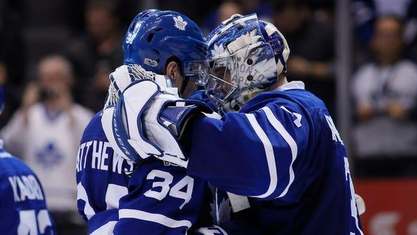 Toronto Maple Leafs forward Auston Matthews (34) celebrates