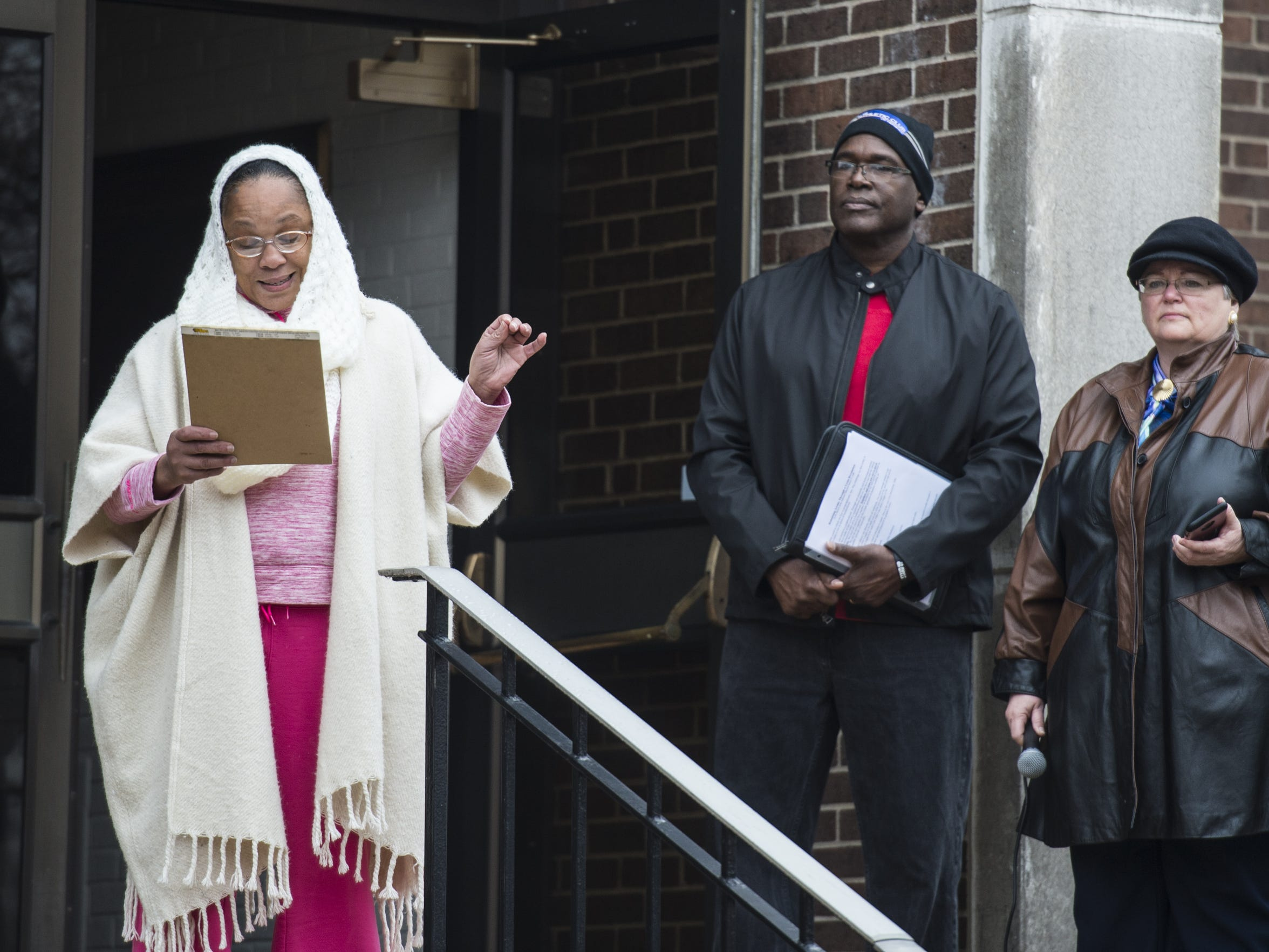 Lady Kelly Wayne-Saldana speaks as members of the Annville Township community and members of Lebanon Valley College held a march and rally to end racism on Tuesday, Feb. 7, 2017. Wayne-Saldana said she has never personally experienced racism in Lebanon County but wanted to support the Bugg family.