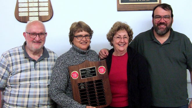 The Kirby Band recently presented member Helene Rouse of Athens with its Hall Award. From left are band conductor Donald VanScoy, 2016 award recipient Deb Parmalee, Rouse and Kirby Band President Jon Allen.