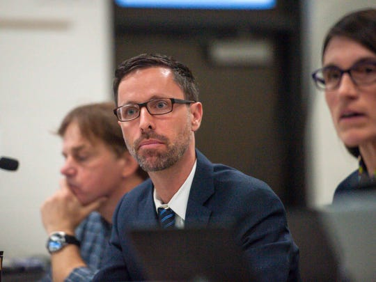 Burlington School Board member Jeff Wick speaks during the first meeting of the newly-constituted Burlington School Board on Tuesday, April 10, 2018.
