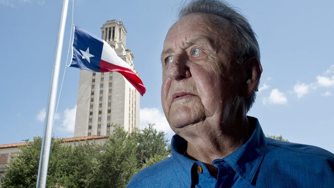 Clif Drummond, who died Sept. 11, near the University of Texas Tower on July 2016 when the state flag was lowered to half-staff after shootings of Dallas police officers. Drummond was the UT student body president in 1966 when Charles Whitman opened fire from the Tower. Drummond helped pull people to safety on that day.