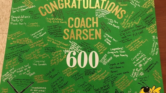 Sharon Sarsen's signed 600th-win poster.