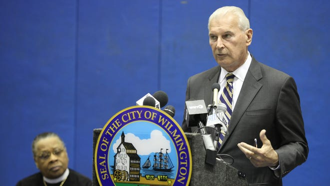 Wilmington Mayor Mike Purzycki gives details about a plan to improve the quality of life of residents in the city's West Center City area on Thursday.