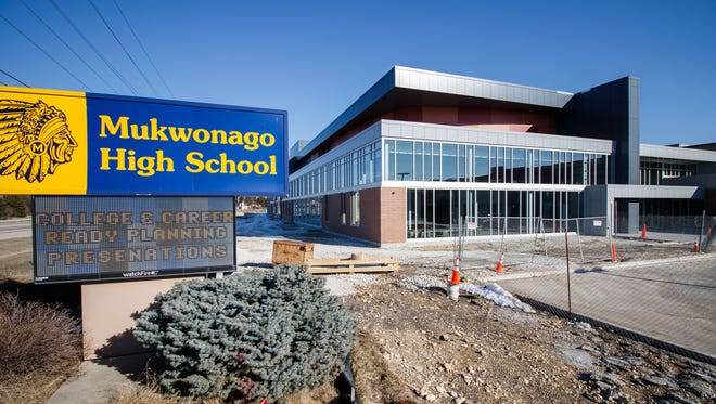 Construction work continues on the Mukwonago High School additions as seen on Wednesday, March 14, 2018.