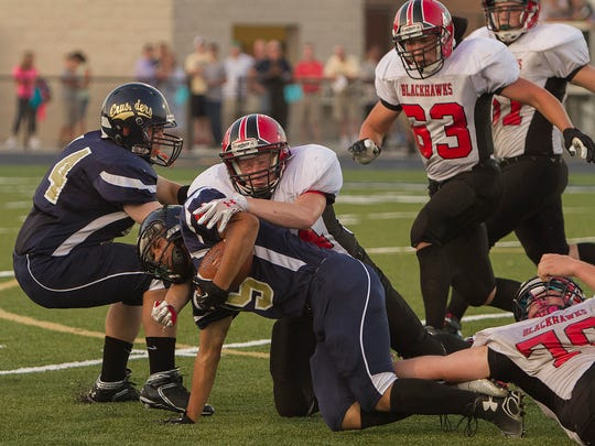 Notre Dame/Oxford first half football action at Brewer Memorial Stadium Friday evening. JEFF RICHARDS / CORRESPONDENT PHOTO