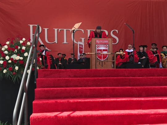 Actor, musician and self-touted political activist Steven Van Zandt addresses the 2017 Rutgers graduating class at High Point Solutions Stadium in Piscataway on Sunday, after receiving an honorary degree in fine arts.