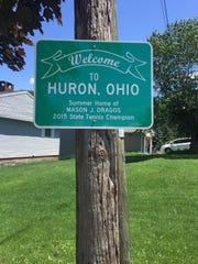 Mason Dragos' friend Dan Hadam had this metal sign made and posted it to a telephone pole outside the Dragos' lake house in Huron.