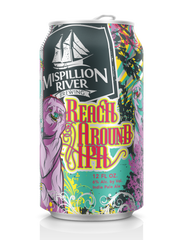 Like all of Mispillion River Brewing's canned beers, their Reach Around IPA features vibrant colors. Reach Around also offers a purple sloth looking back at you.