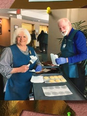 Aurora Medical Center in Manitowoc County celebrated Volunteer Week with an annual volunteer appreciation dinner April 17. Pictured, Linda Lowry and Harley Boprey, AMCMC volunteers, bake cookies during Volunteer Appreciation Week.