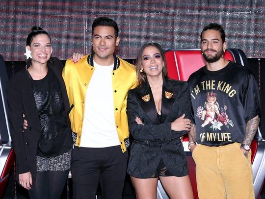 Carlos Rivera junto a sus compañeros jueces de La Voz