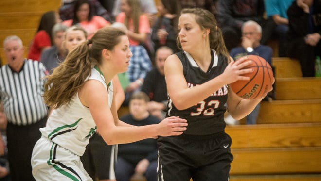Wapahani's Payten Lee looks to pass. Wapahani overtook Yorktown Tuesday night after trailing a majority of the game in the 4th quarter to finish the game 51-47.