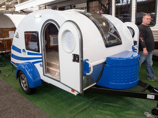 A 2018 T@B Teardrop Camper Trailer at the Indy RV Expo, State Fairgrounds, Indianapolis, Sunday, Jan. 7, 2018.