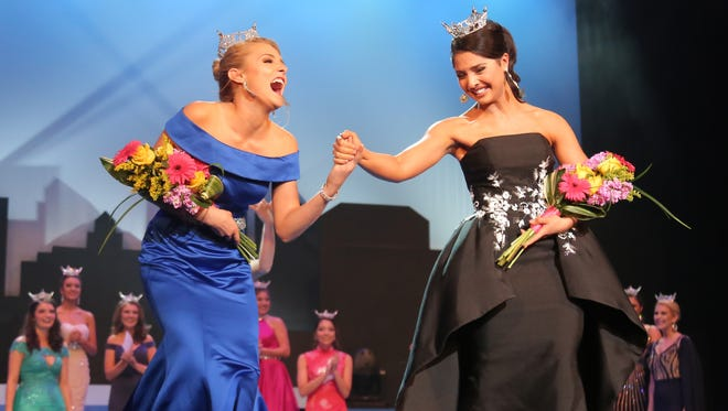 Camryn Main (left) and Madeline Carter won the second night preliminaries of swim and talent competition respectfully  for the 2018 Miss Ohio contest took place on Friday at the Renaissance Theatre.
