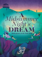 "Poster for Nashville Shakespeare Festival's Shakespeare in the Park 2018: ""A Midsummer Night's Dream."""